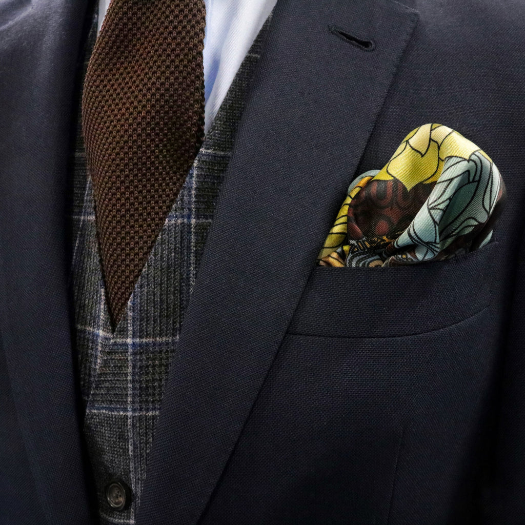 Designer Pocket Square UK, London, Guns and Roses, Silk Hanky, Luxury Pochett