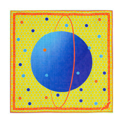 Uranus Pocket Square, Aquarius Gifts, Polka Dot, Yellow, Blue, Science Gift, Luxury Gift, Made in UK, Silk Pocket Square, Luxury Accessory London