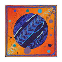 Neptune pocket square, luxury pocket squares, gift idea pisces, merino wool, silk, made in uk, designer pochette