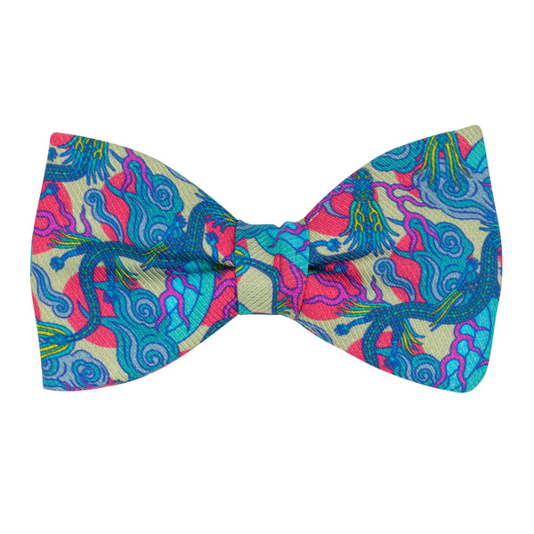 Pink and Blue Bow Tie featuring Chinese Dragons and Rainbows, Luxury Bow Tie, Bold Accessories, Menswear, Made in UK, London, Brighton, Bow Ties, Dickie Bow