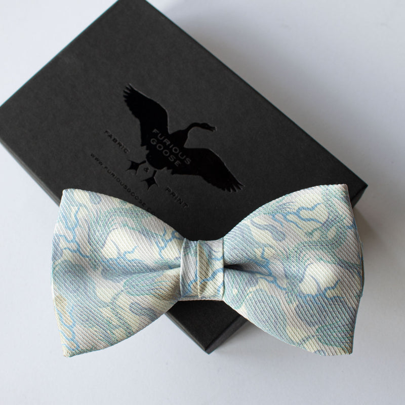 silver bow tie, dragons, luxury silk bow ties