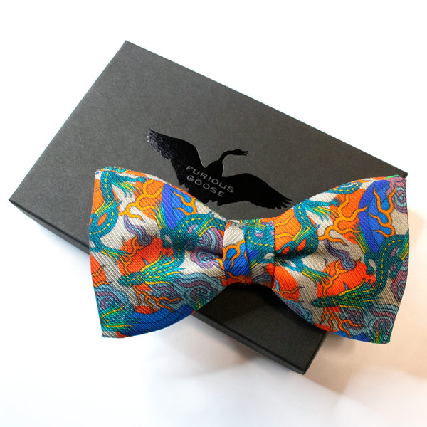 Dragon bow tie, silk saglia, slow fashion, bold and bright colours