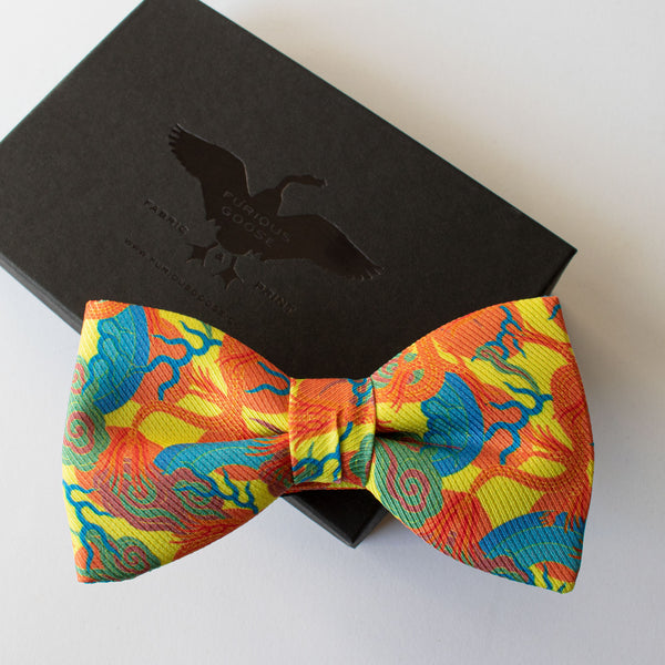 bold bow tie, luxury bow ties, premium accessories uk, dragons