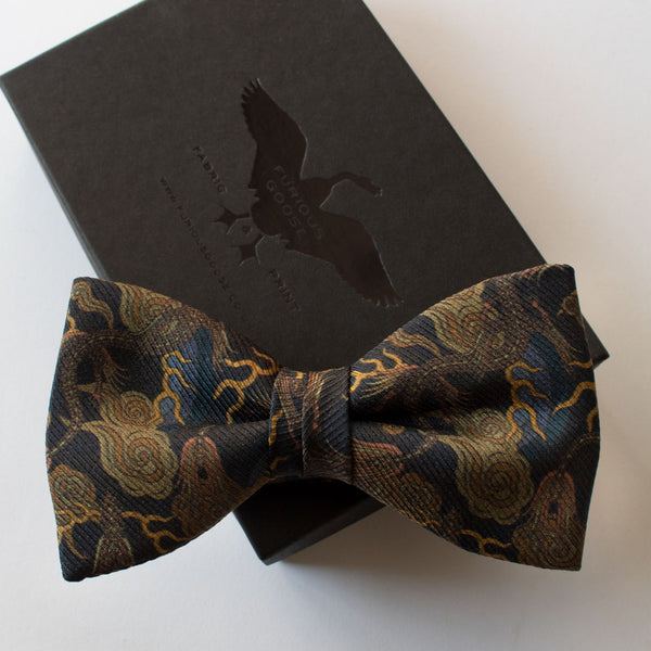 black tie, gold bow tie, dragons, luxury bow ties, london UK