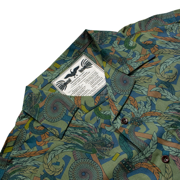 Dragon Shirt, Hawaiian Shirt, Casual Shirt, Quetzalcoatl, Bold Print, Sustainable Fashion, Ecovero, Vegan Fashion