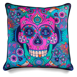 Luxury Sugar Skull Cushion London, Designer Homeware, Soft Furnishings, Silk, Velvet, Contemporary Interior Design