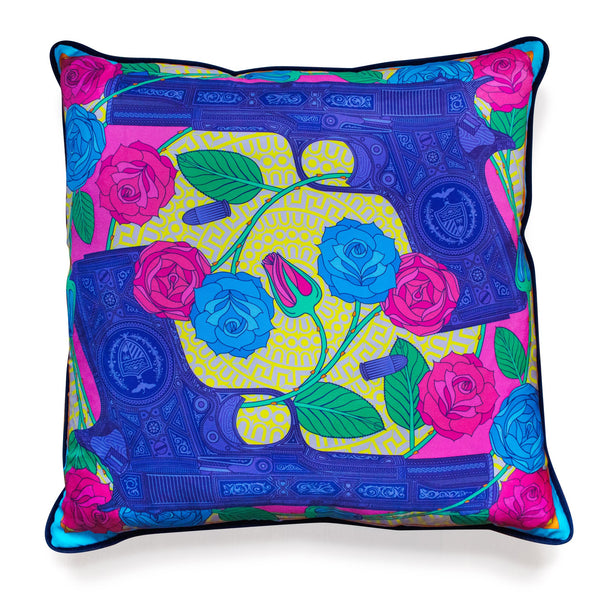 Luxury Pistol Cushion London, Designer Homeware, Soft Furnishings, Silk, Velvet, Contemporary Interior Design