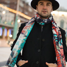 Street Art inspired Silk Scarf, Graffiti Silk Scarves UK, Cashmere, Graffiti Accessories, Luxury Mens Accessories, Luxury Gift, Made in England