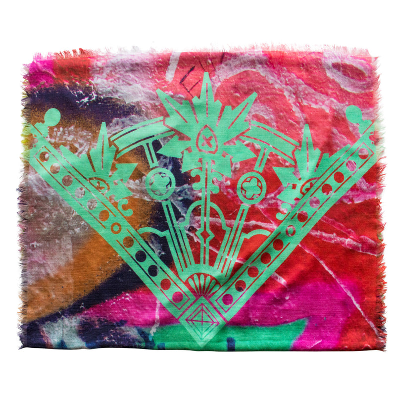 Street Art inspired Silk Scarf, Melbourne, Graffiti Silk Scarves UK, Cashmere, Graffiti Accessories, Luxury Mens Accessories, Luxury Gift, Made in England