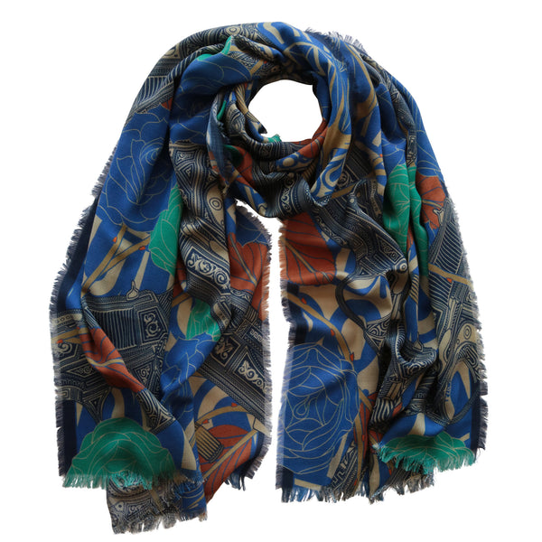 Luxury Designer Scarf, Silk Shawl, Unisex Scarf, Menswear, Womenswear, Made in UK, Print, Maximalist, Floral Print, Guns and Roses, Large silk scarf