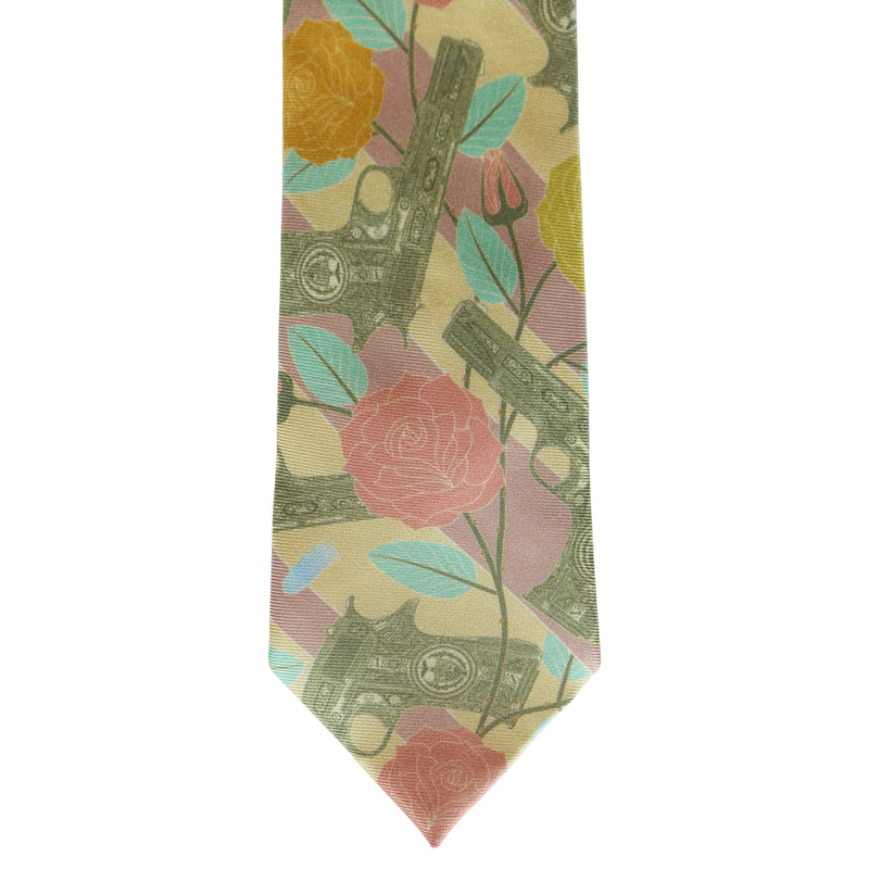 Designer Silk Tie, Pastel Colour Luxury Mens Ties, UK, Sinatra's Pistol, Miami, Guns and Roses, 100% Silk Accessories