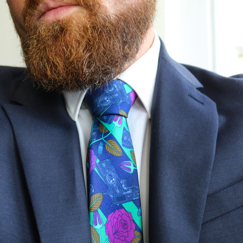 Designer Silk Tie, Jade, Blue, Pink Colour Luxury Mens Ties, UK, Sinatra's Pistol, New Orleans, Guns and Roses, 100% Silk Accessories