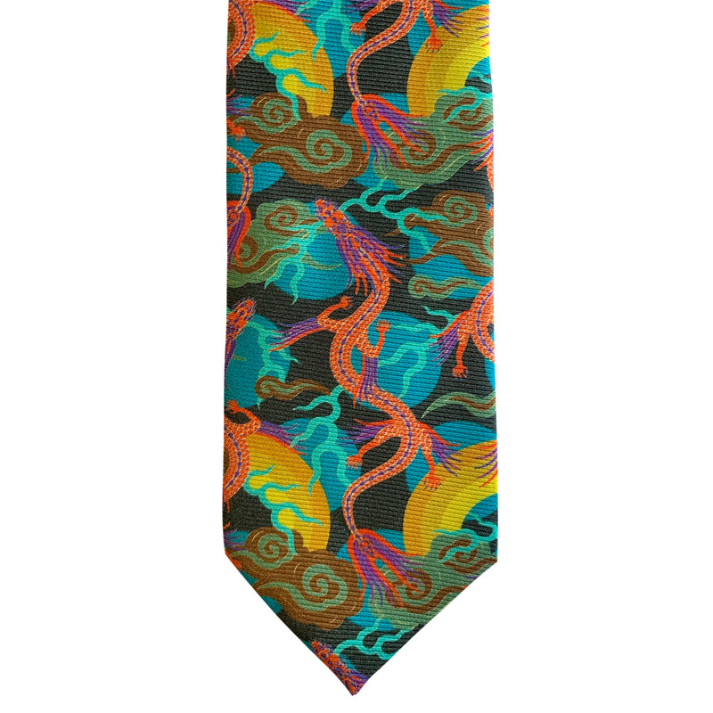 bold ties, luxury silk neckties, made in England, Dragons, Chinoiserie, Luxury Accessories, Gift Ideas for Him, Luxury Gifts