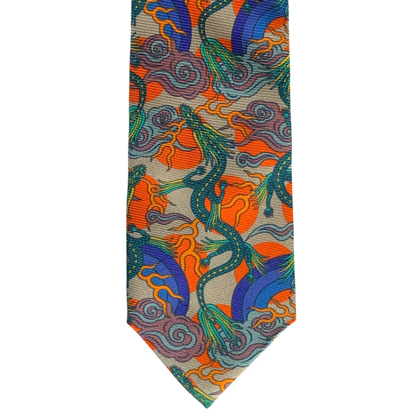 Luxury Silk Tie, Quality Silk Neck Ties, neckties, British Accessories, London, Brighton, Orange Tie, Dragon Tie, Oriental Dragon, Chinoiserie
