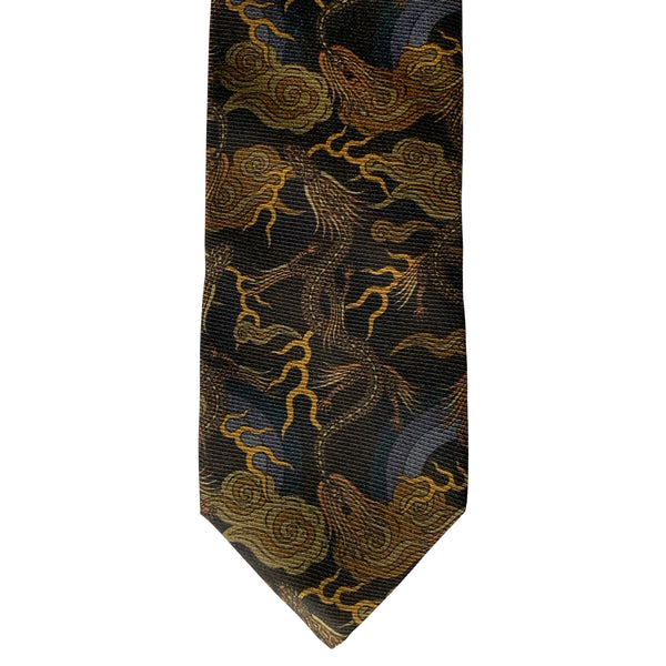 Gold neck tie, luxury pure silk ties, made in England, british brand, Dragons, Chinese Dragon, Lucky Tie, Hand Made. High end accessories.