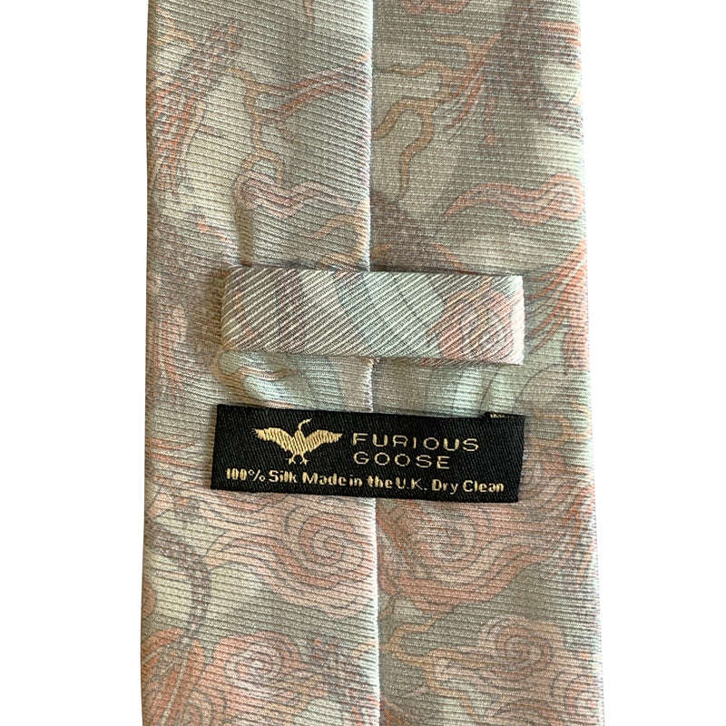 Luxury designer tie, wedding tie, pink necktie, rose, silver, saglia silk, Made in England, British Accessories
