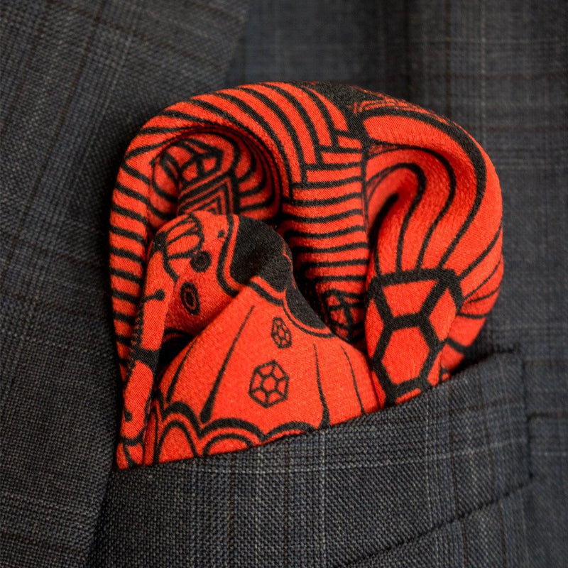 Day of the Dead, Sugar Skull, Pocket Square Mayfair, London, Made in UK, 100% Luxury Silk
