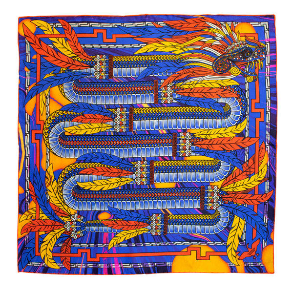 Pocket square, bright colours, dragon pattern, sustainability