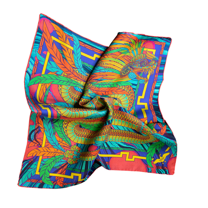 Rainbow Scarf, Dragon Scarves, Quetzalcoatle, British Luxury Print, Gifts for Her, Made in England