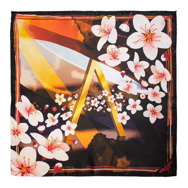 Vamps Cherry Blossom, Silk Neckerchief, Pocket Square, Pocket Chief, Luxury Hank, Made in UK, British Sustainable Fashion
