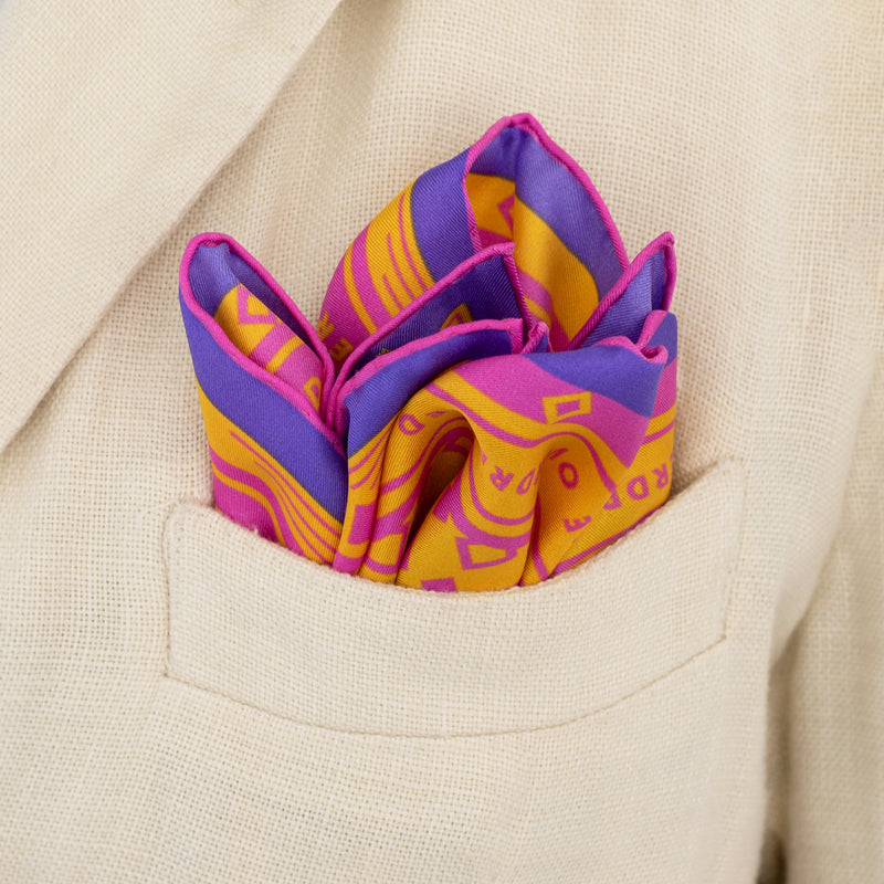 Peach Melba Pocket Square, Pink, Orange, Purple, Oscar Wilde Quotes, Luxury Pocket Squares, London, UK