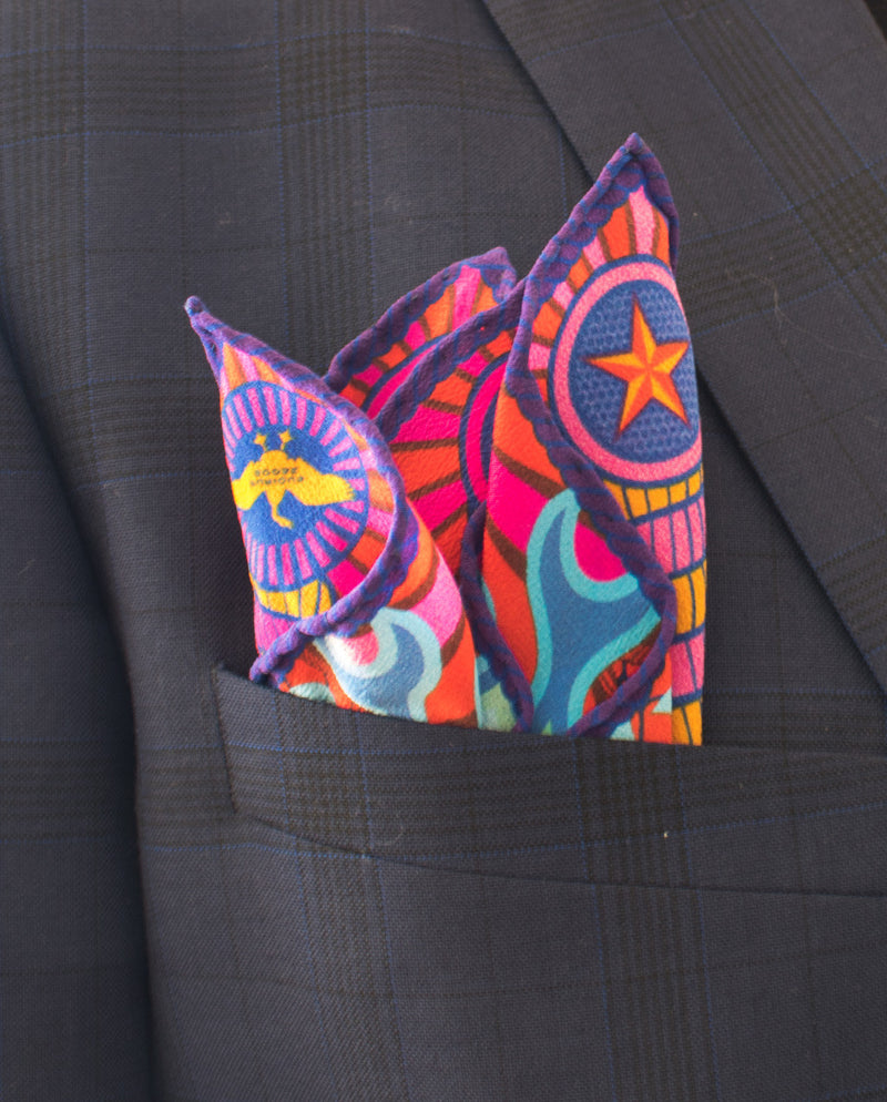 Pocket Squares London, UK, New York, Designer Pocket Square, 100% silk, Made in England