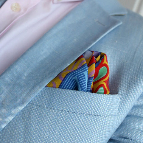 Pocket Square Brighton, Colourful, Contemporary Pocket Squares UK, Made in UK, Hand finished, High Quality