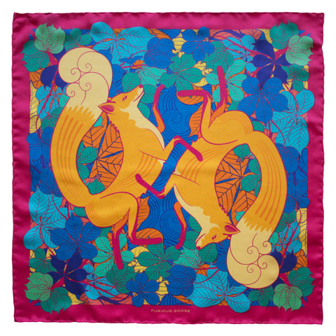 Foxes, Sunrise – Luxury Scarves Brighton, Silk Scarf, Foulard, Made in UK, Designer Scarves, Gifts for her, Wedding