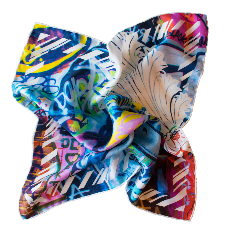 Rebellious and cool Street Art inspired Pocket Square, Street Art Pocket Squares UK, Pochette, Handkerchief, Silk Square, Luxury Gift, Made in UK