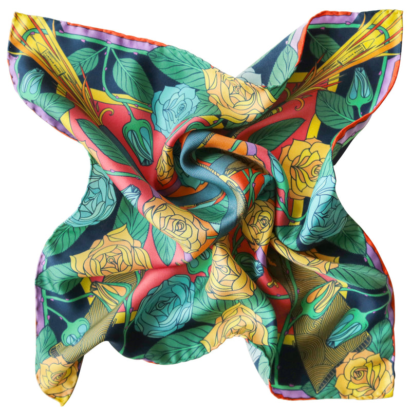Psychedelic Silk Scarf, Guns and Roses, Antique Gun, Metallic Designer Silk Scarves, Guns Floral Print, Foulard, Luxury Silk Scarf, Silk Square, Luxury Accessories Brand, Floral Print, British Fashion Brand, Made in England