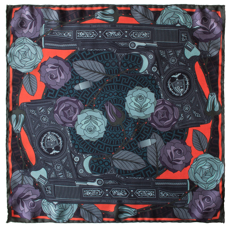 Silk Scarf UK, Guns and Roses, Colt 9mm, Vintage Guns, Luxury Scarves, Designer Silk Scarves, Guns Floral Print, Foulard, Luxury Silk Scarf, Silk Square, Luxury Accessories Brand, Pistol, British Fashion Brand, Made in England