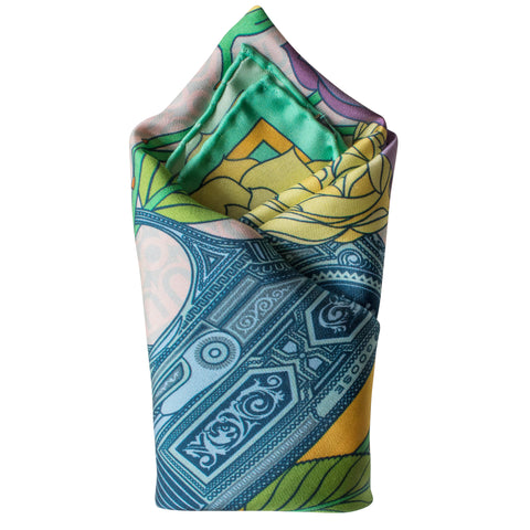 Designer Pocket Square, British Pocket Square, Luxury Silk Square, Made in England, UK, Guns and Roses