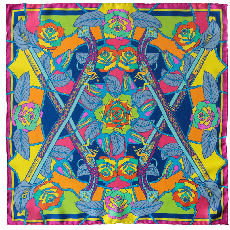 Psychedelic luxury silk scarf, guns and roses, antique ottoman pistols, ladies silk scarves uk, silk square london