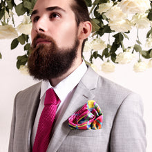 Designer Pocket Square, UK Luxury Pocket Squares, Pink Pocket Square, Rainbow Pocket Square, Selim's Hammer, Guns and Roses Collection