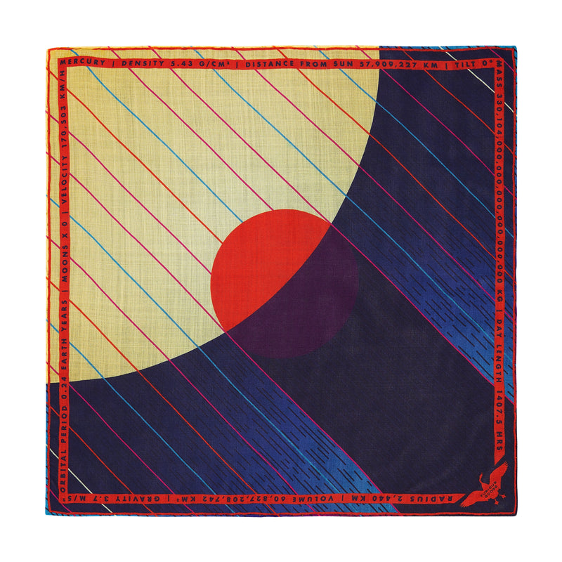 Luxury Pocket Square, Mercury, Planet Mercury, Hermes, Gift Ideas Gemini, Gift Ideas Virgo, Luxury Gift UK, London, Brighton, Space Gift
