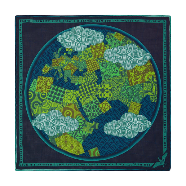 Luxury Pocket Square, Earth, Planet Gaia, Gift Ideas Nature, Luxury Gift UK, London, Brighton, Environmental Gift