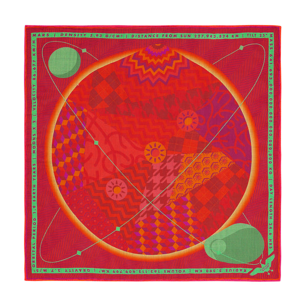 Luxury Pocket Square, Mars, Planet Mars, Aries, Gift Ideas Aries, Luxury Gift UK, London, Brighton, Space Gift