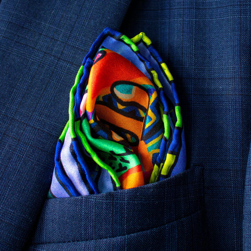 Luxury Pocket Square, Silk Pochette, Designer Handkerchief, Wearable Art, Trans Art, Pop-Art, Made in UK