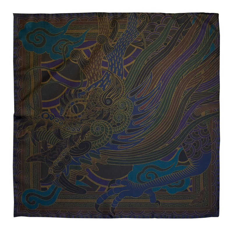 Luxury Dragon Scarf, Oriental Dragon, Chinoiserie, Gold, Black Scarf, Made In UK, London Scarves