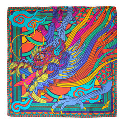 Multicoloured Silk Scarf, Scarves, Luxury Accessory, Neckerchief, Dragons, Chinese Dragon, Orientalism, Chinoiserie, London, UK