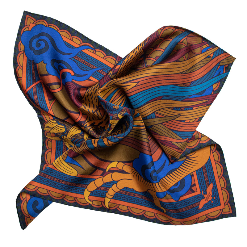 Pocket Square, Pocket Chief, Silk Square, Pochette, Dragon, Chinoiserie, Chinese Dragon, Lucky Pocket Squares, Silk Handkerchief, UK, London