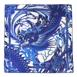 Blue Silk Scarf, Chinese Dragons, Delftware, Luxury Scarves, Gift Ideas, Lucky Scarf, Foulard, Made in UK, London, England, British