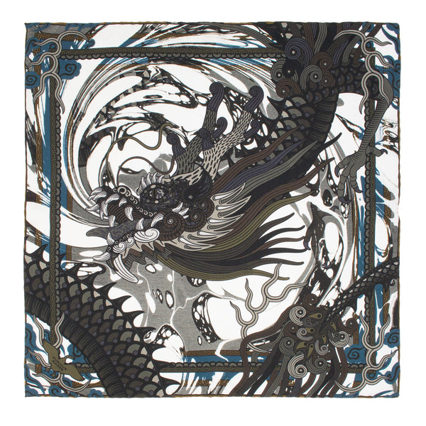 Dragon Pocket Square, Silk Hank, Dragons, Chinoiserie, Bold Accessories, Made in England, UK, London