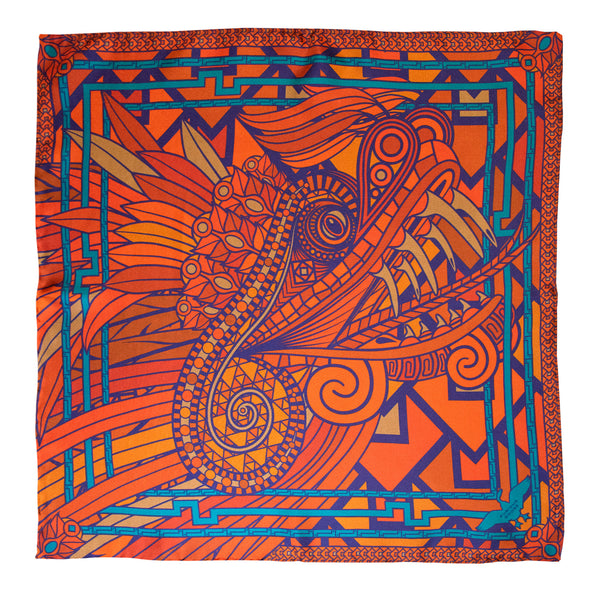 Blood Orange Silk Dragon Scarf, Purple Details and Teal highlights, Quetzalcoatl Luxury Scarves, Made in England, English Accessories, London, Brighton