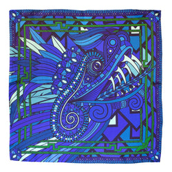 Silk Neckerchief, Dragons, Quetzalcoatl, Blue Scarf, Purple Scarves, Luxury Accessories, London, UK