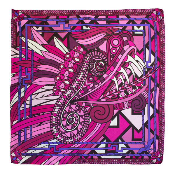 Pink and Purple Pure Silk Scarf, Dragon Scarves, Quetzalcoatl Scarf, Neckerchief, Bandana