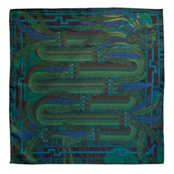 Green Silk Scarf, Dragons, Quetzalcoatl, Luxury Scarves, Made in UK