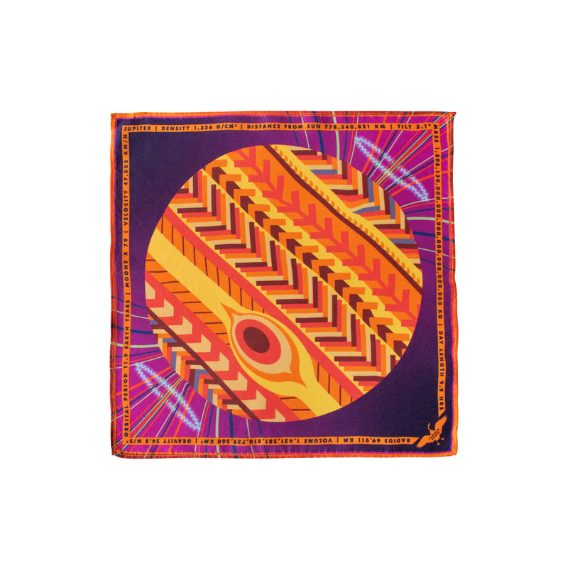 Luxury Pocket Square, Jupiter, Planet Jove, Gift Ideas Science, Luxury Gift Sagittarius UK, London, Brighton, Sagittarius Gift