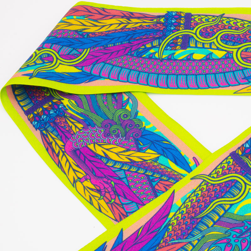 Psychedelic Scarf. Dragon Scarf, Ribbon Scarves, Twilly, Lavallière, Luxury Accessories, UK, London