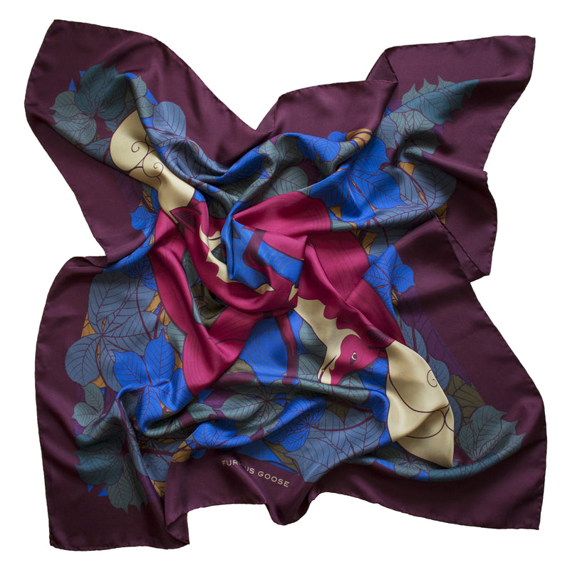 Foxes, Sunset – Luxury Accessory, Silk Scarf, Foulard, Made in UK, Designer Scarves, Gifts for her, Unisex accessory